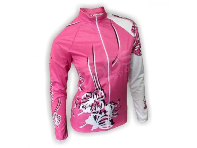 Cyklo bunda dámská FLOWERS - růžová