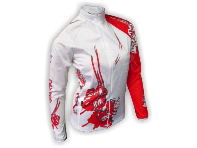 Cyklo bunda dámská FLOWERS - bílá