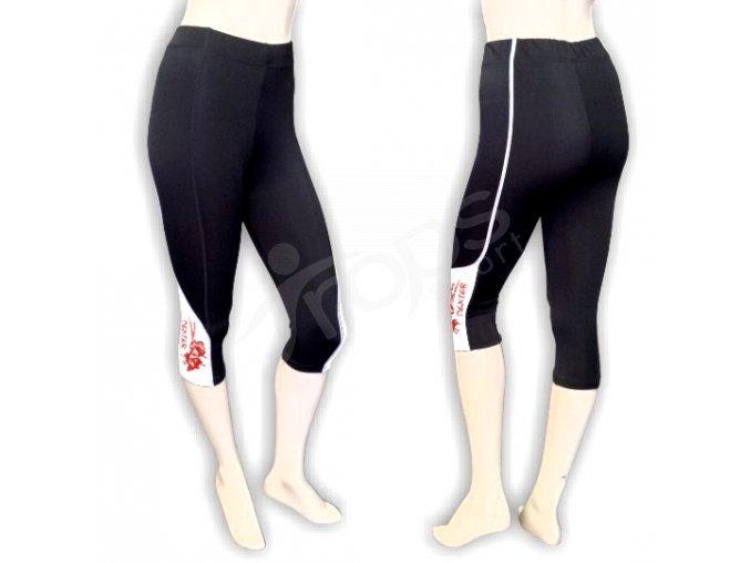 Cyklistické kalhoty FLOWERS dámské - golfky, bílé
