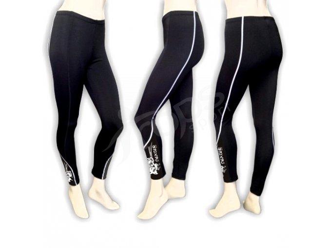 Cyklistické kalhoty FLOWERS dámské - dlouhé, černé