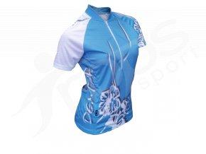 Cyklistický dres dámský FLOWERS - modrý