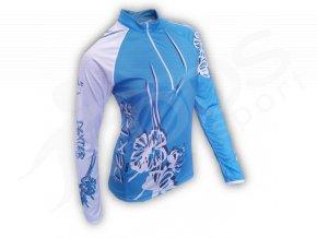 Cyklistický termodres dámský FLOWERS - modrý