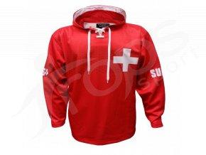 Mikina Švýcarsko červená vlastní potisk