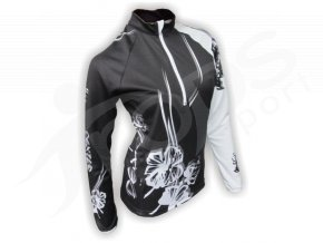 Cyklistický termodres dámský FLOWERS - černý