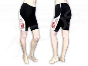 Cyklistické kalhoty FLOWERS dámské - krátké, bílé