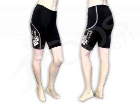 Cyklistické kalhoty FLOWERS dámské - krátké, černé