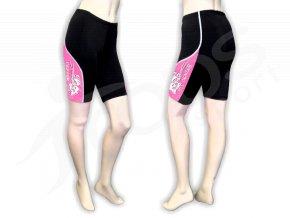 Cyklistické kalhoty FLOWERS dámské - krátké, růžové