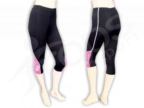Cyklistické kalhoty FLOWERS dámské - golfky, růžové