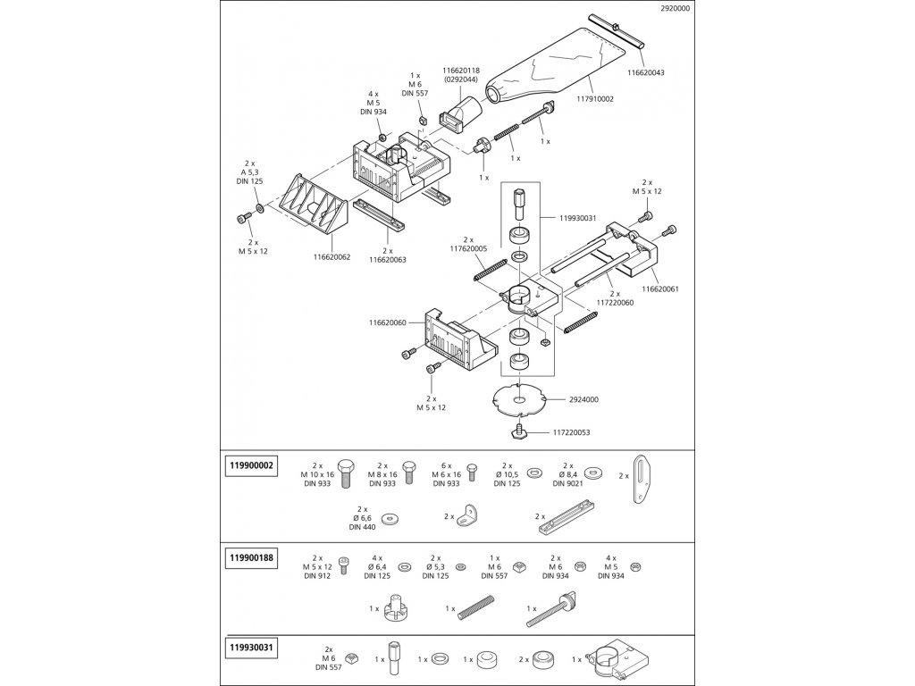 Náhradný diel Frézování tabulka 2920(116620060) pro Víceúčelová fréza na dřevo Wolfcraft 2920000