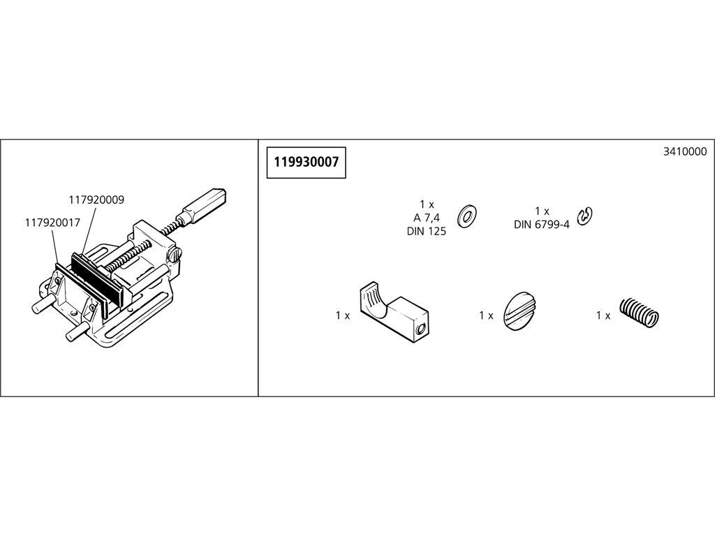Náhradný diel Náhradný diely taška 3410/15/24(119930007) pro Mobilní úhlový upínač
