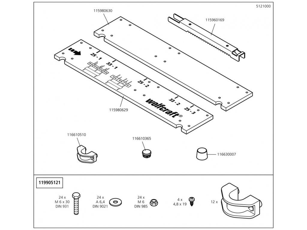 Náhradný diel Stabilizační deska zpět 5121(115980630) pro Koza na řezání dřeva Wolfcraft 5121000
