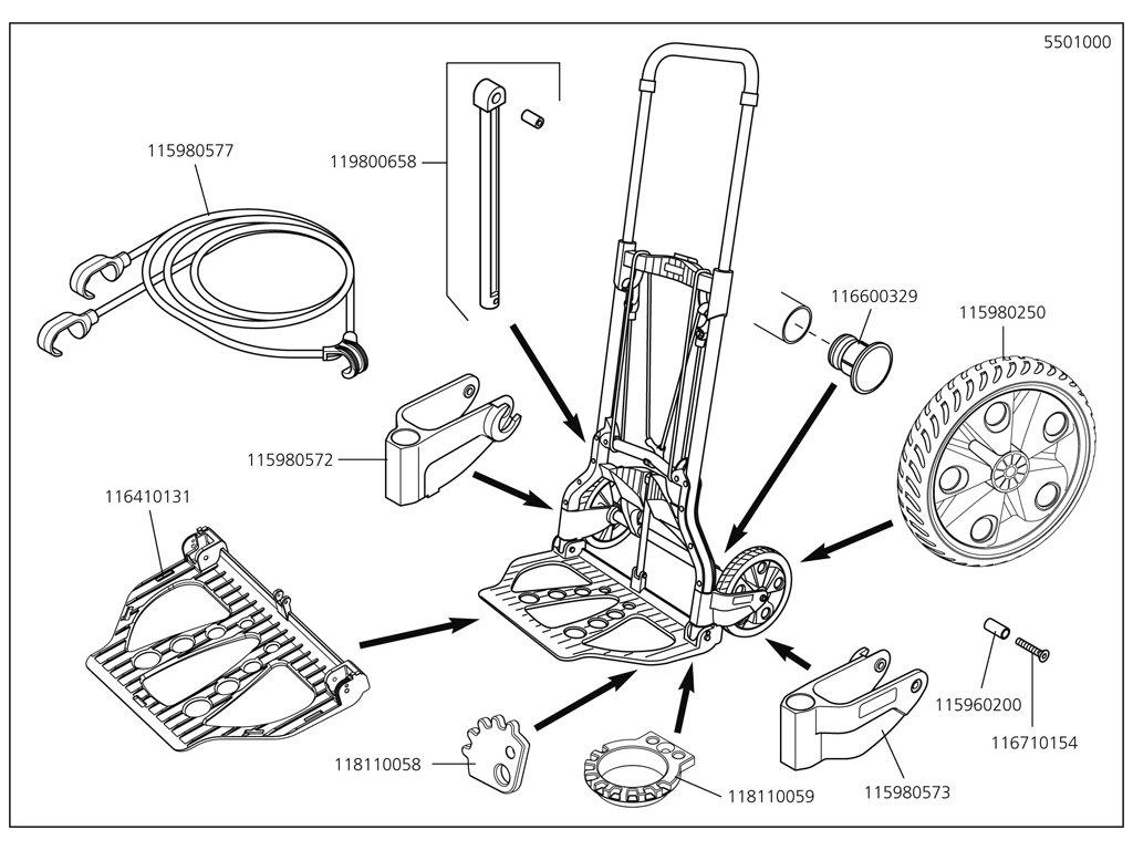 Náhradný diel Montážní skupina gumička namontovat 5500/1(115980577) pro Transportní vozík Wolfcraft TS850 5501000