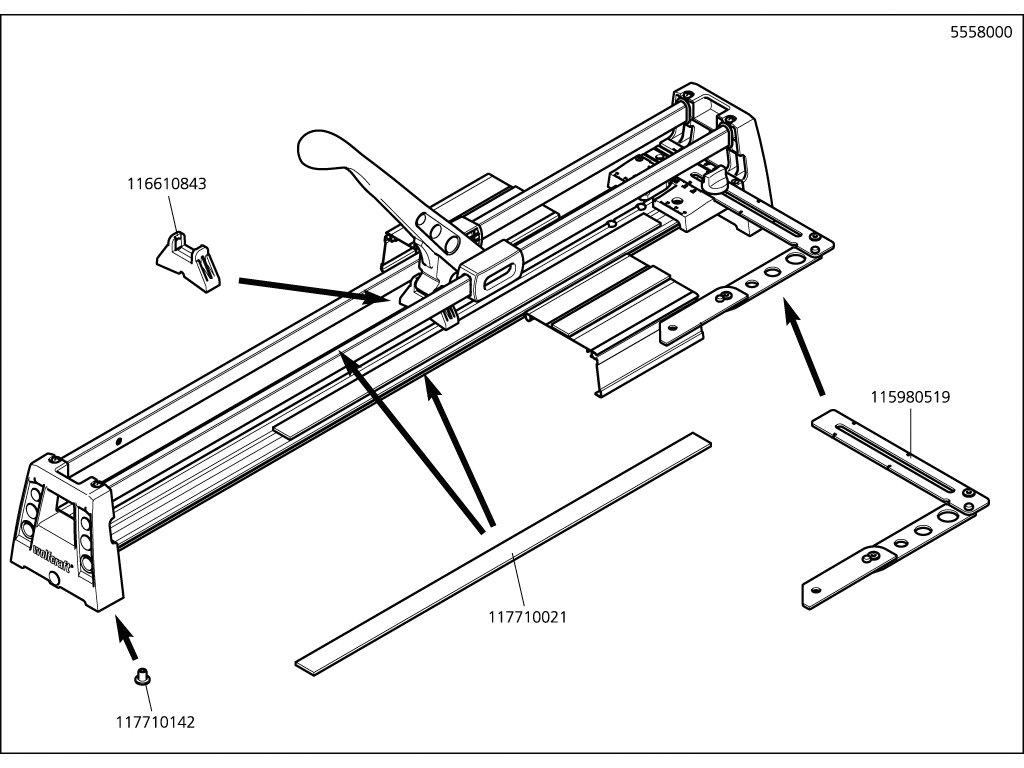Náhradný diel manuální 5558/9(116305558) pro Řezačka na obklady Wolfcraft 1 TC 460 5559000