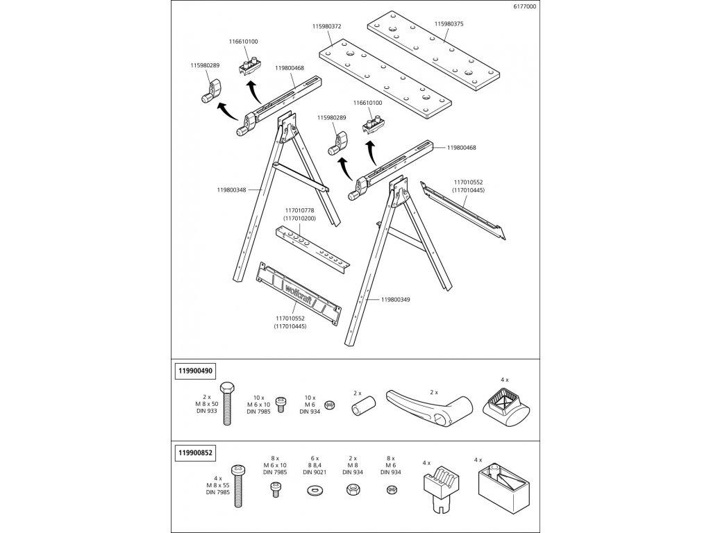 Náhradný diel MDF-Work deska předního 6177RE(115980372) pro Upínací stůl Wolfcraft 6177000 Master 200