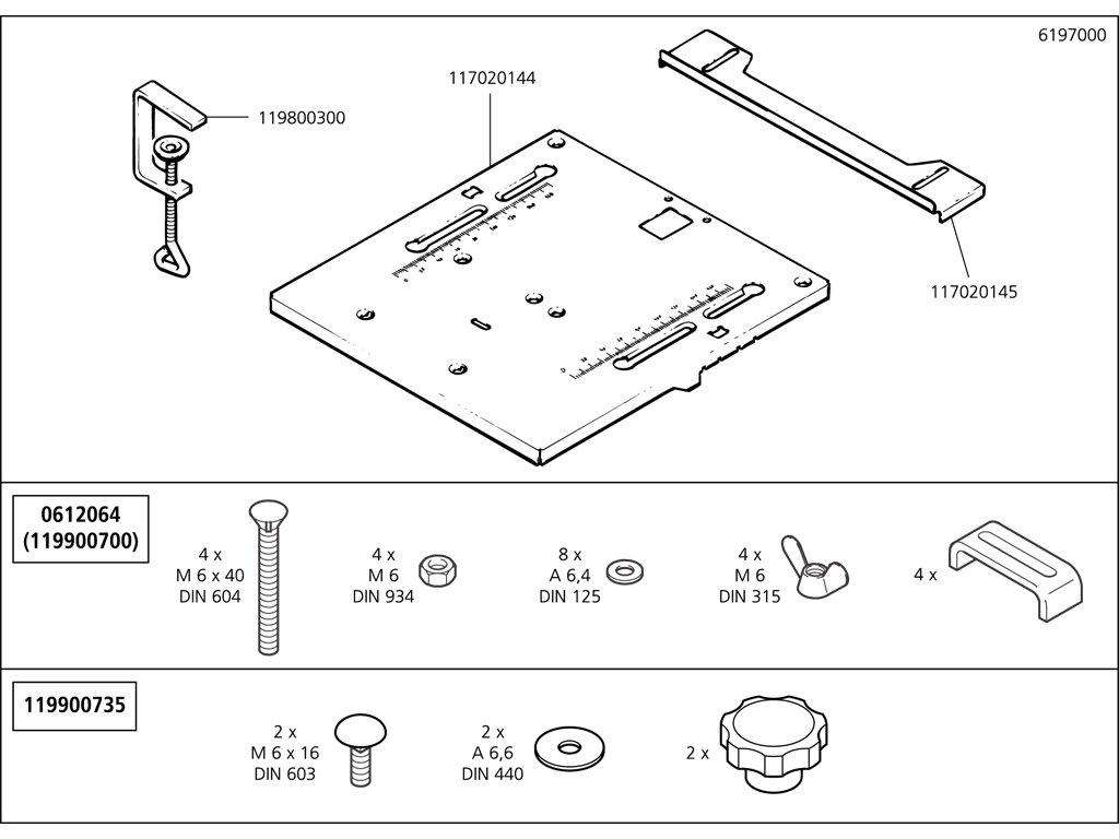 Náhradný diel Montážní skupina svorka namontována 6197/98(119800300) pro Stůl pro přímočarou pilu