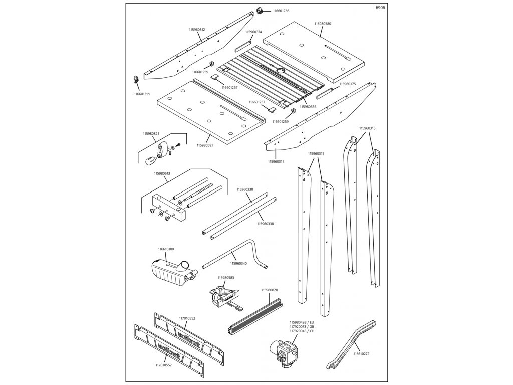 Náhradný diel Travesaño 440, 6906(115960338) pro Pracovní stůl Master cut 1500 Wolfcraft 6906000