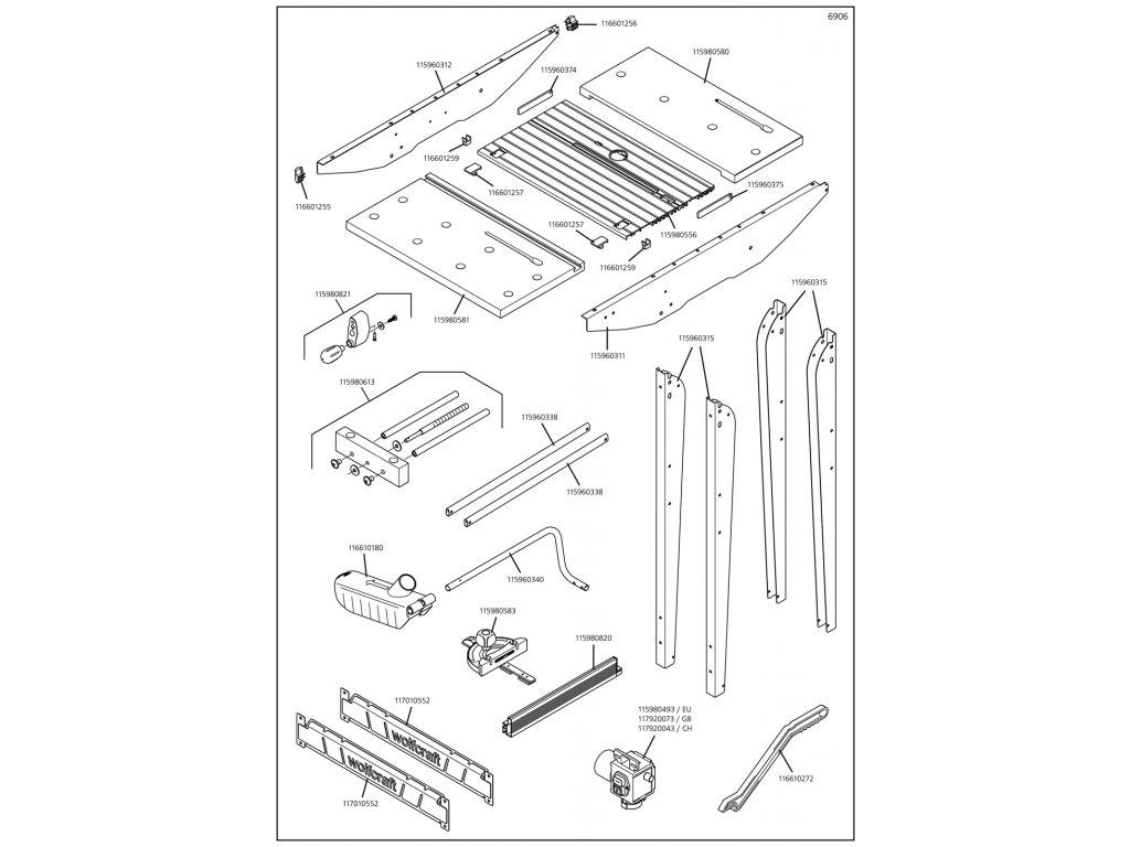 Náhradný diel Příčníku doleva 6906(115960312) pro Pracovní stůl Master cut 1500 Wolfcraft 6906000