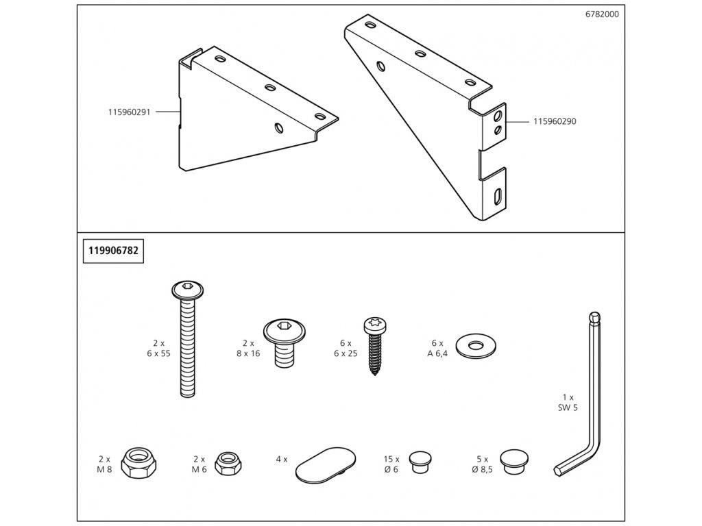 Náhradný diel Klínek deska levá 6782(115960291) pro 1 pracovní stůl 1130mm, No. 3