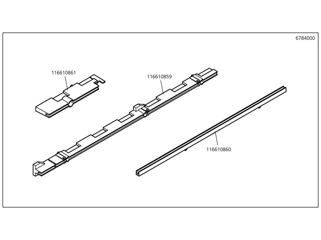 Náhradný diel Panelsupport 2, 6784(116610860) pro 1 pracovní stůl 1610mm, No. 1
