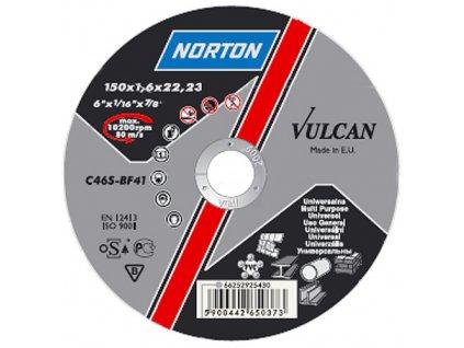 Kotúč NORTON Vulcan A 125x1,0x22 A60S-BF41, rezný na kov a nerez
