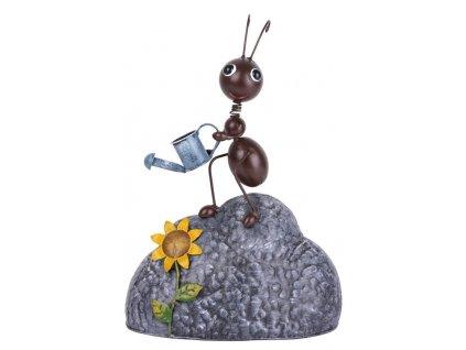 Dekoracia Mecco 9100, Mravec na kameni s konvou, 35 cm, plech