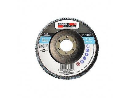 Kotúč KONNER 260 150x22 mm, A120, zirkónový, vejarový, lamelový, nerez