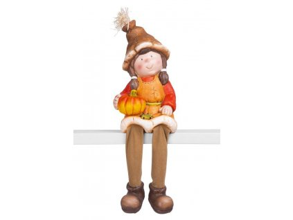 Dekorácia MagicHome Nature, Dievčatko sedí s tekvičkou, keramika, 17x16,50x32 cm