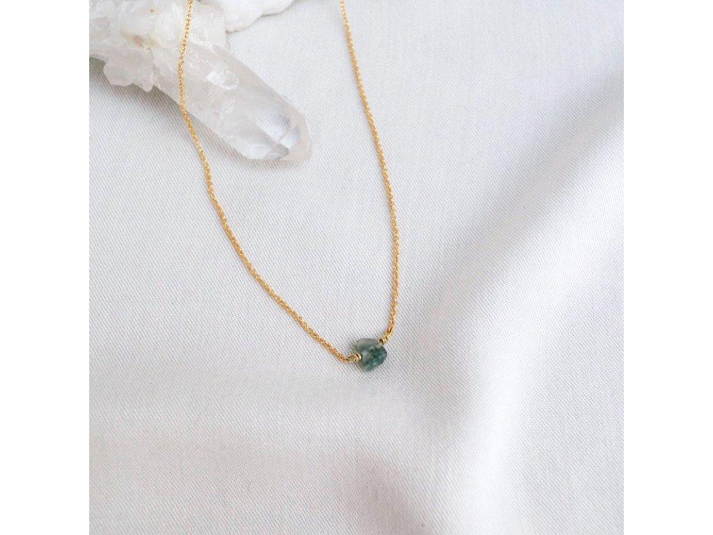 Stříbrný řetízek s mechovým achátem pro znamení Panny