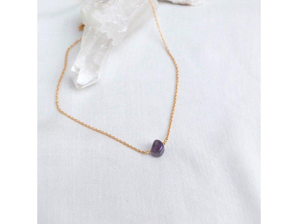 Stříbrný řetízek s kamenem pro znamení vodnáře ametyst