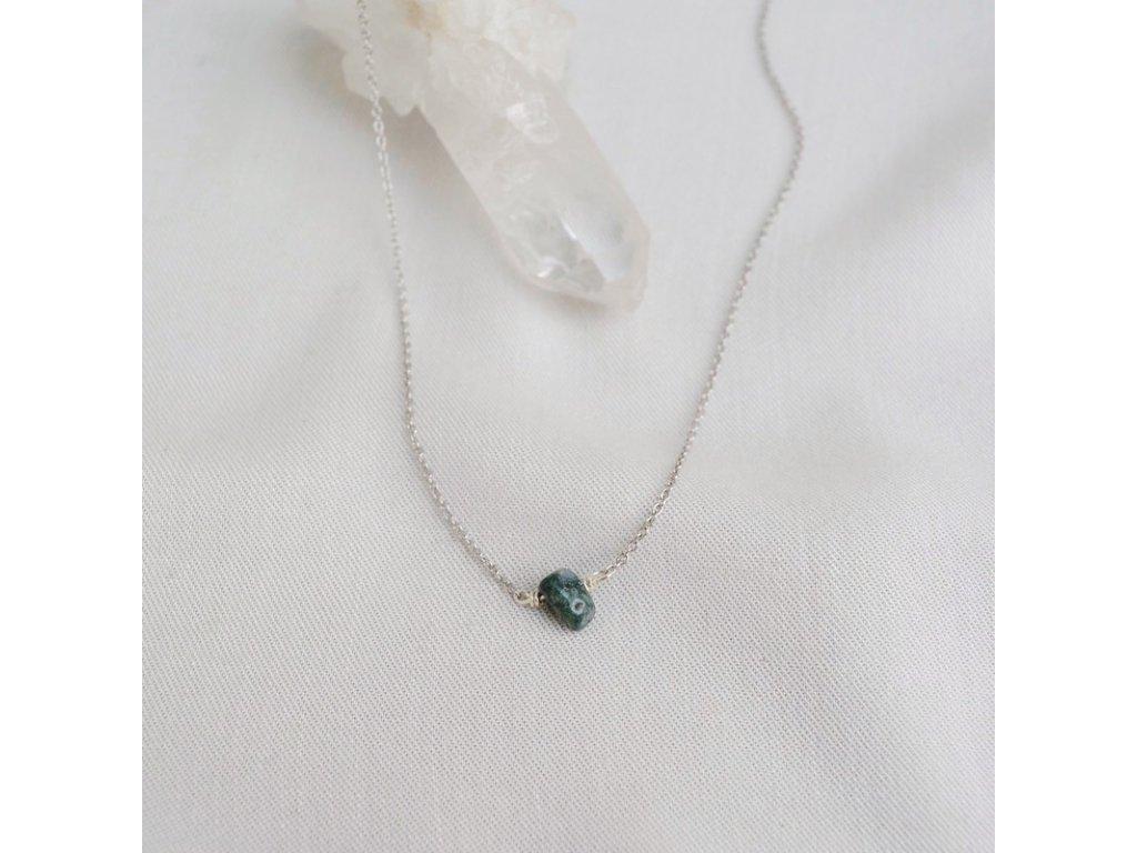 Stříbrný řetízek s kamenem pro zmaneí Panny mechový achát