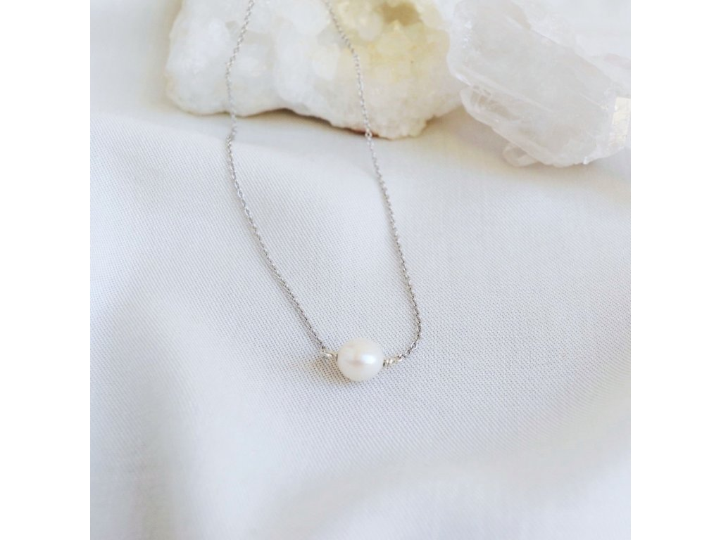 Přírodní perla řetízek stříbrný