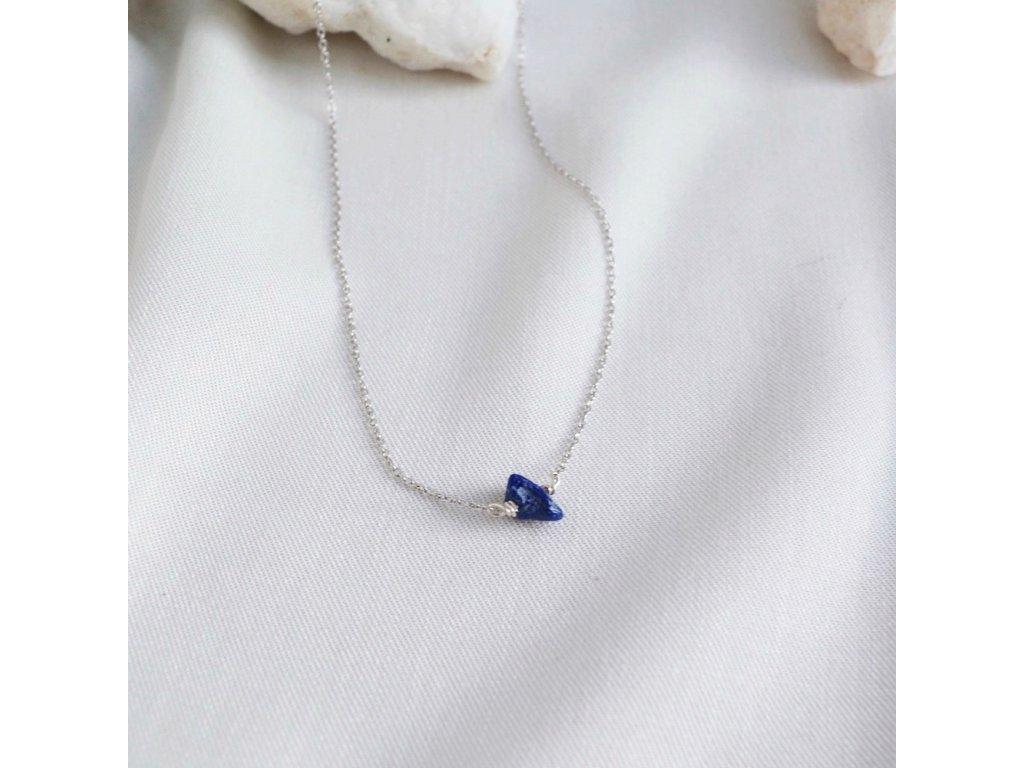 Stříbrný řetízek kámen podle znamení Střelec lapis lazuli