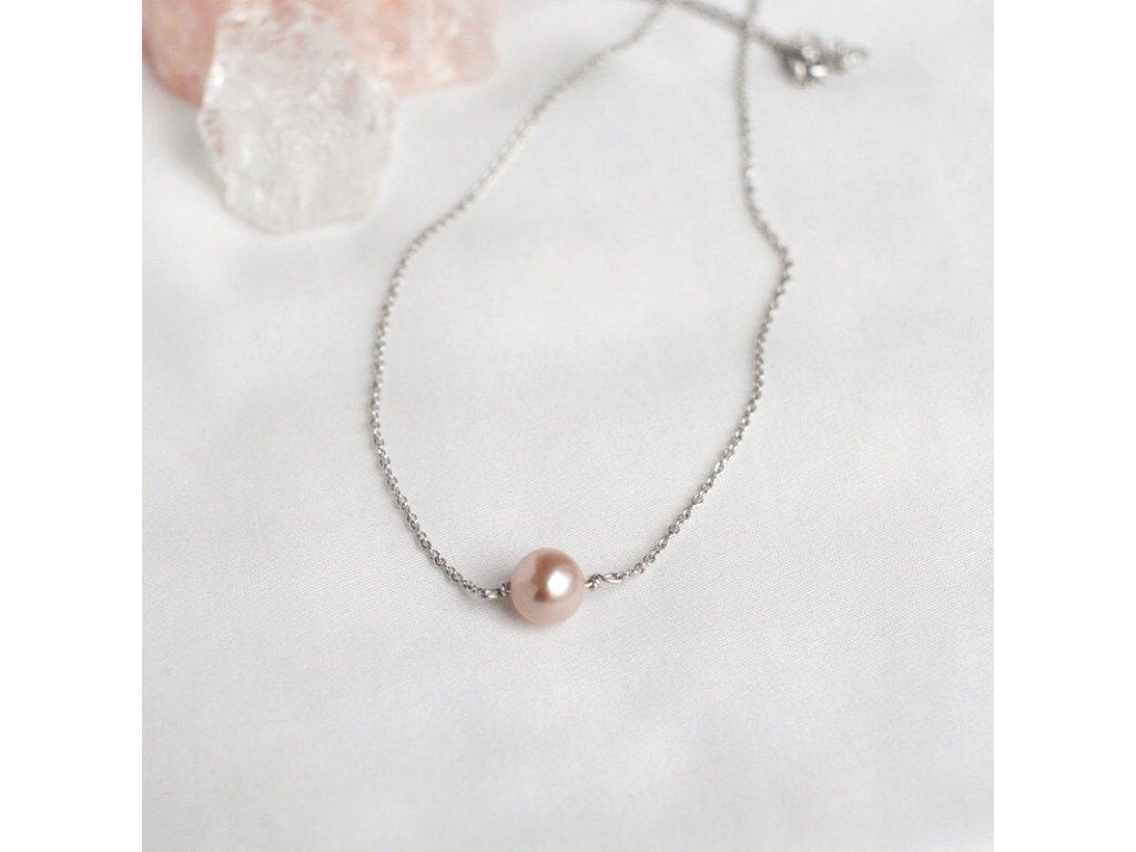 Stříbrný řetízek s růžovou perlou