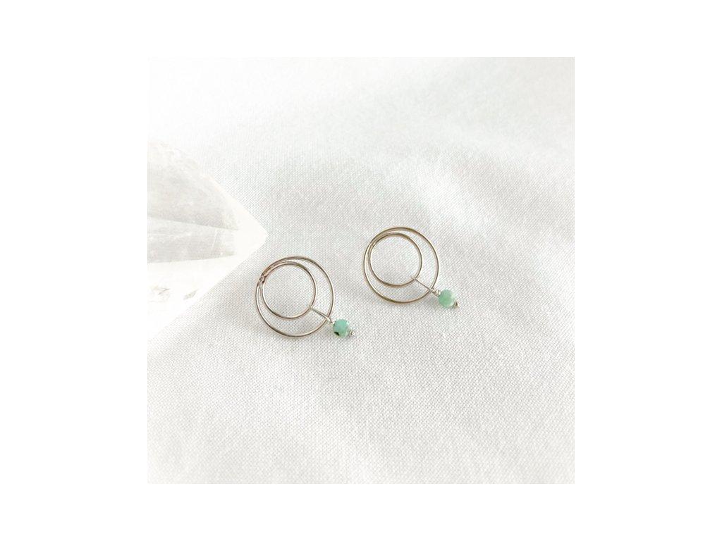 Náušnice Gaia se smaragdem stříbro 9