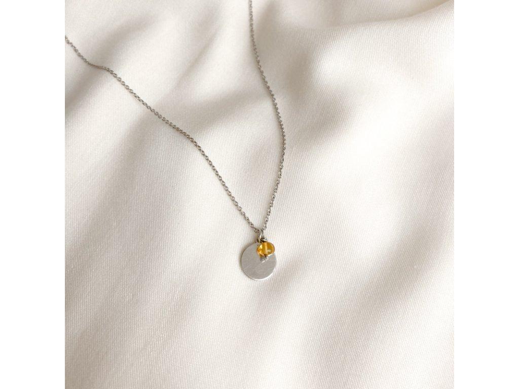 Stříbrný náhrdelník Slunce s kamenem 3