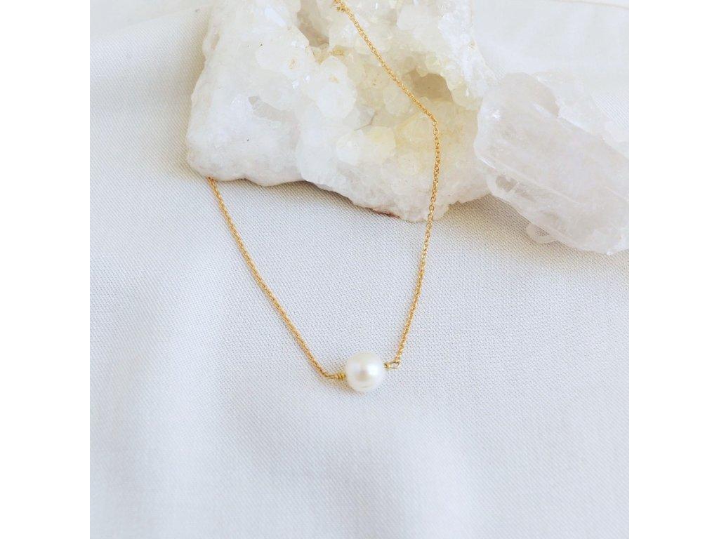 Stříbrný řetízek s říční perlou ruční výroba