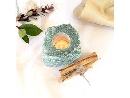 balíček svícen avanturín zelený, palo santo, křišťál geoda