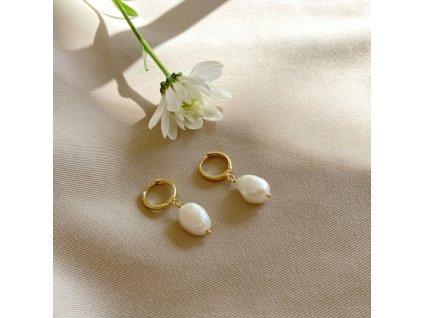 Pozlacené náušnice s perlami