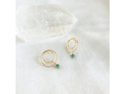 Náušnice Gaia se smaragdem stříbro pozlacené 1