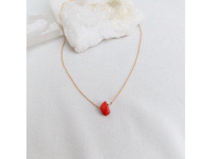 Stříbrný řetízek s korálem pro znamení Berana