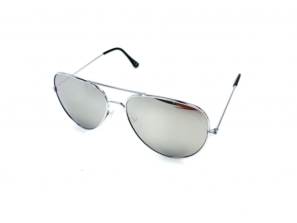61506 slunecni bryle aviator stribrne zrcadlove