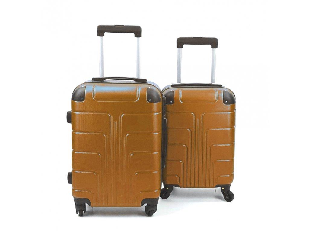 Cestovní Skořepinový Kufr - Zlatý (velikost S a XS) (Opicka XS)