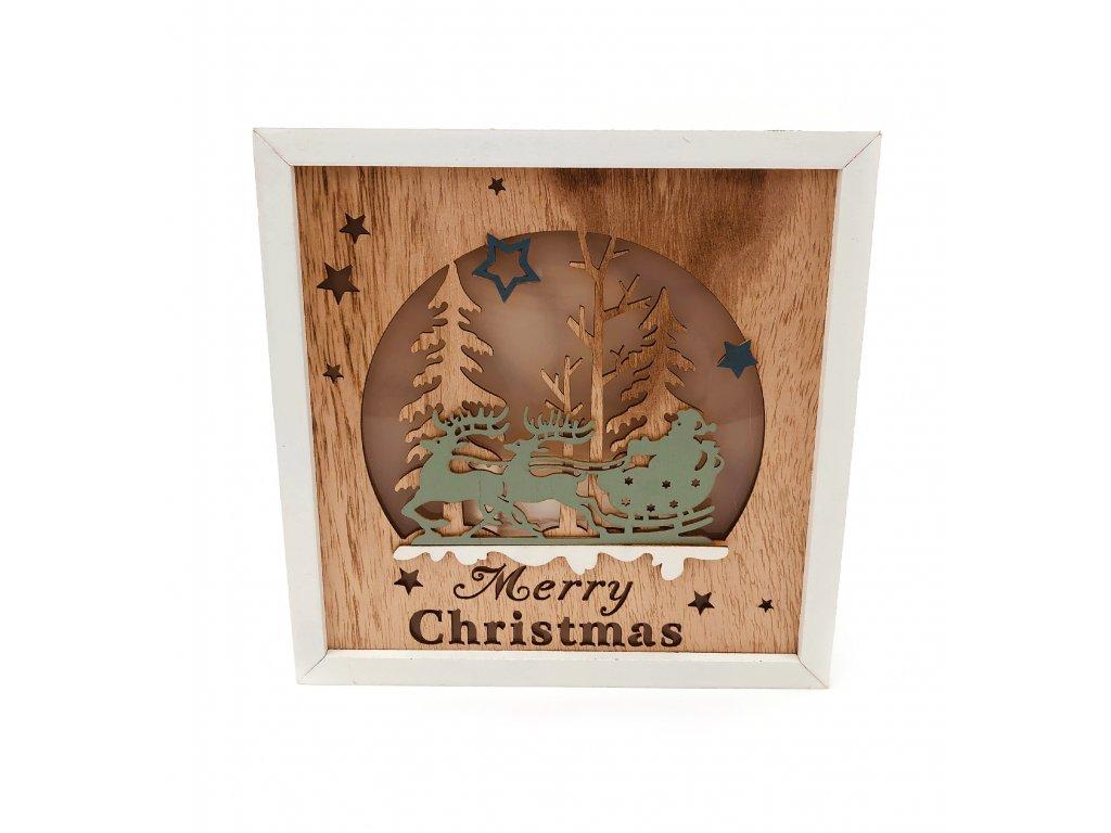 152090 drevena svitici dekorace merry christmas santa claus na sanich