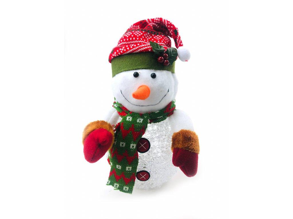 152186 svitici vanocni dekorace snehulak v cepici 28 cm