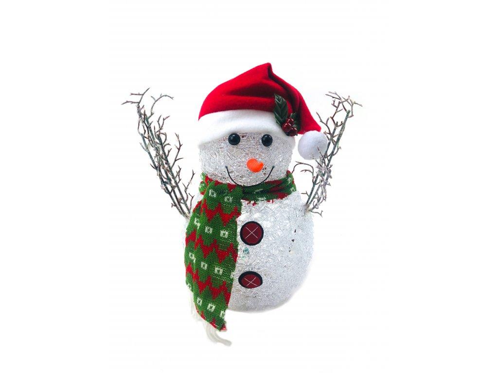 152174 svitici vanocni dekorace snehulak v cepici 29 cm