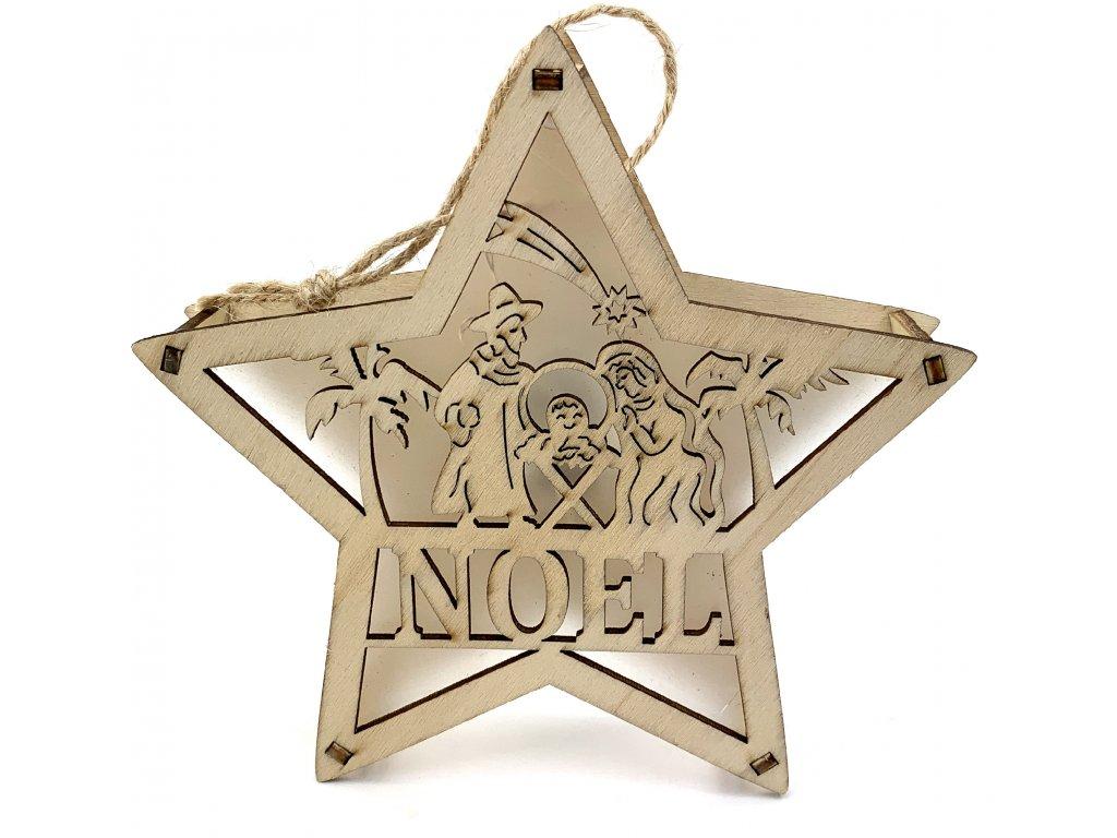 153170 drevena svitici dekorace hvezda noel 15 cm