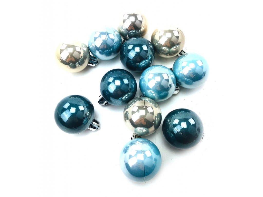 Vánoční koule - Modro-stříbrné (4 cm) (Vánoční dekorativní koule Velikost 4cm - 1x balení (12x koule))