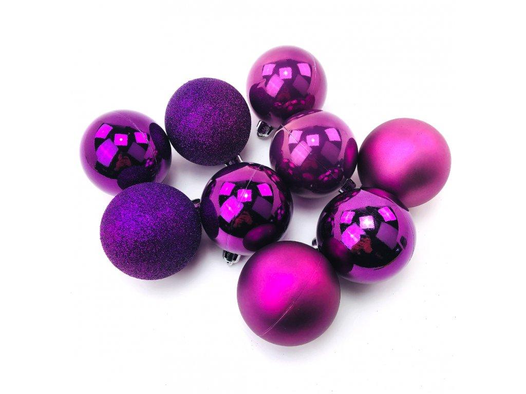 Vánoční koule PURPUROVÉ - různé velikosti (Vánoční dekorativní koule Velikost 2cm - 1x balení (12x koule))
