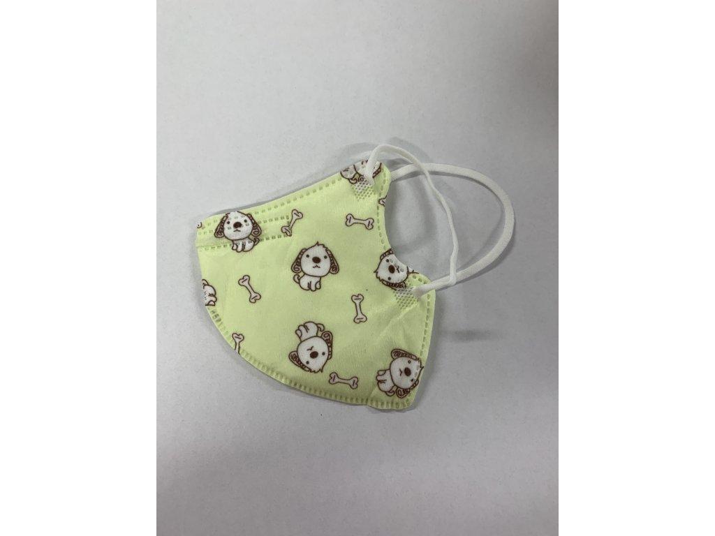 Dětský respirátor KN95 s pejsky - zelený (5 ks)