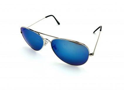 131951 slunecni bryle aviator modre zrcadlove stribrne obroucky